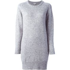 Kenzo sweater dress ($450) ❤ liked on Polyvore featuring dresses, grey, ribbed dress, kenzo, grey sweater dress, ribbed sweater dress and round neck dress