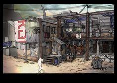 phyrrus backstreet by michel voogt on ArtStation. Post Apocalypse, Concrete Jungle, Environment Design, Jpg, Borderlands, Game Design, Line Art, Concept Art, Scenery