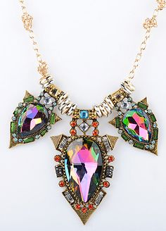 Gold Rings Gemstone Chain Necklace - Sheinside.com
