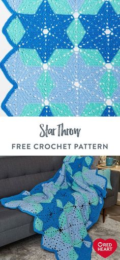Star Throw free crochet pattern in Red Heart Super Saver yarn. Icy blue shades of yarn create an alluring crochet blanket that can be displayed at Christmas and all season long. Red Heart Super Saver brings life to the stunning version shown, but explore a wide selection of colors to find a combination that matches your space - whether family room, guestroom, bedroom and more. It's a wonderful décor piece that adds festive flair to any modern or traditional setting. Crochet Mask, Free Crochet, Knit Crochet, Soft Blankets, Knitted Blankets, Crochet Projects, Craft Projects, Crochet Ideas, Super Saver