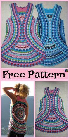 10 Cutest Crochet Circular Vest Free Patterns #freecrochetpatterns #crochetvest #clothes #crochettop
