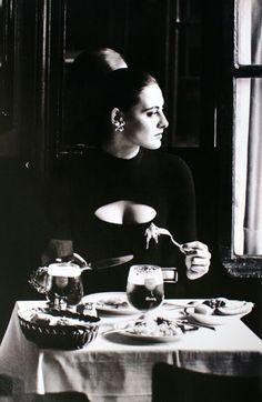 Marie Claire Bis Fall/Winter 1982-1983 Ines de la Fressange is wearing a little black dress by Chantal Thomass photographed by Sachavan Dorssen -Brasserie Lipp Paris
