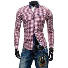 Pánska bordová košeľa s kockovaným vzorom - fashionday.eu Shirt Dress, Blazer, Mens Tops, Jackets, Shirts, Dresses, Fashion, Down Jackets, Vestidos