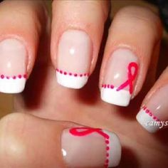 Red ribbon nail stroke awareness