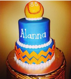 Softball Birthday Cake Softball Birthday Cakes, Cupcake Cakes, Cupcakes, Sweet, Desserts, Food, Candy, Tailgate Desserts, Cup Cakes