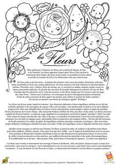 A colorier, un beau cahier de coloriage avec la légende des fleurs