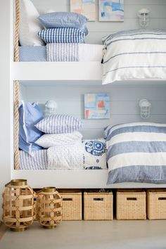 Bunk beds with blue decor in the beach house Coastal Cottage, Coastal Living, Coastal Decor, Coastal Style, Beach Cottage Style, Bunk Rooms, Bunk Beds, Bedrooms, Twin Beds