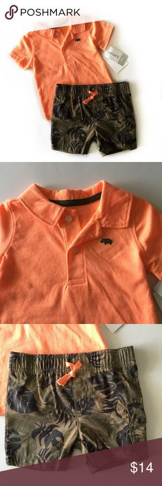 🆕Carter's Outfit🆕 Adorable two-piece Carter's outfit new with tags. That has a bright orange polo shirt with Hawaiian style shorts. Super Cute Carter's Matching Sets