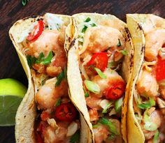 Thai Shrimp Tacos with Coconut-Curry Sauce and Cabbage-Scallion Slaw