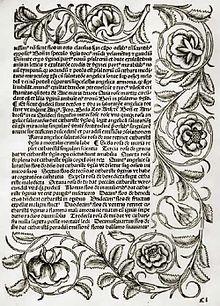 Psautier de Zinna — Wikipédia, le plus ancien livre imprimé au Bandebourg 1493, conservé à la bibliotheque de Potsdam. Ornementaux floraux