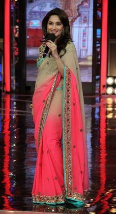 Madhuri dixit saree pink color sarees on big boss set