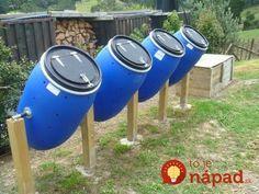 Garden Plans a row of compost tumblers DIY - Today's Gardens.Garden Plans a row of compost tumblers DIY - Today's Gardens Garden Compost, Garden Beds, Vegetable Garden, Terrace Garden, Farm Gardens, Outdoor Gardens, Urban Farming, Garden Planning, Garden Projects