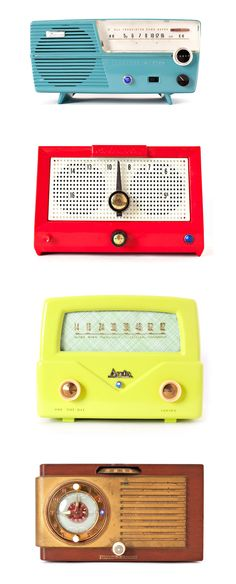 Vintage radios #midcenturymodern #retro The bottom one looks like the radio from The Brave Little Toaster