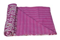 Handmade Kantha IKAT Redish Meharoon Queen Quilt cum Reversible Bed Cover by creative artisans of Ethnic Textiles frm Jaipur Rajasthan India by ethniclovers1 on Etsy