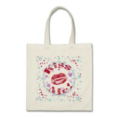 Kiss Me! Red Lips With Hearts Bag   •   This design is available on t-shirts, hats, mugs, buttons, key chains and much more   •   Please check out our others designs at: www.zazzle.com/ZuzusFunHouse*