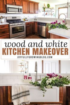 You have to see this kitchen remodel on a budget! The before and after pictures of the makeover are too good! A farmhouse sink and new countertops complete the renovation. Hardware updates on the dark cabinets make the wood look amazing. #joyfullygrowingblog #kitchen #DIY #farmhouse #homedecor