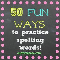 50 ways to practice spelling words - {our three peas} motherhood - Education Spelling Word Practice, 2nd Grade Spelling, Spelling Words, Spelling Ideas, Spelling Lists, Word Study, Word Work, Spelling Activities, Kids Spelling Games