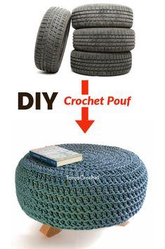 Diy Crochet Ottoman, Diy Pouffe, Crochet Pouf Pattern, Tire Ottoman, Ottoman Cover, Pouf Ottoman, Crochet Furniture, Old Tires, Repurposed Items