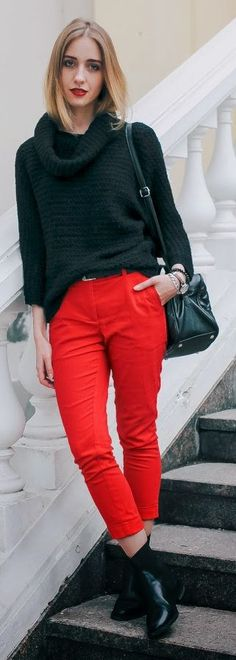 Red Crop Pants #Fashionistas