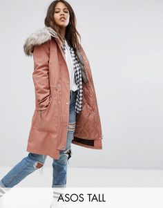 ASOS TALL Parka with Detachable Faux Fur Liner - Pink