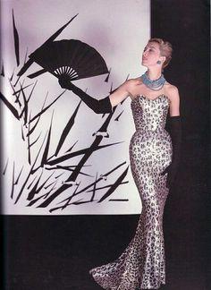 Balmain, beaded leopard print evening gown, 1953