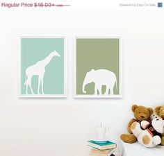 SALE 20% OFF Safari Animals Nursery Art Print Set of 2, Personalized Nursery Decor, Jungle Zoo wall art Giraffe, Elephant on Etsy, $12.80