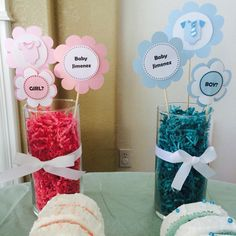 DIY centerpieces for gender reveal party