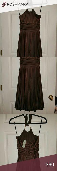 Cache Brown Halter Dress NWT halter w/bling ring / bottom balloon pleated Cache Dresses Mini