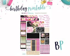 Birthday Monthly // Mini Happy Planner // Monthly View // Printable Planner Stickers // Cut Lines by BEaYOUtifulPlanning on Etsy