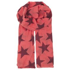Becksondergaard Fine Twilight Cotton Scarf - Spiced Coral (£25) ❤ liked on Polyvore featuring accessories, scarves, spiced coral, star scarves, summer shawl, cotton scarves, red shawl and lightweight summer scarves