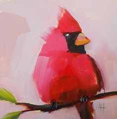 Cardinal no. 28 original bird oil painting prattcreekart,