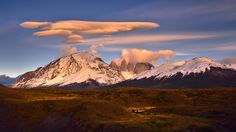Lenticular Clouds Over Las Torres; photo by Mei Xu at Torres del Paine National Park, Chile
