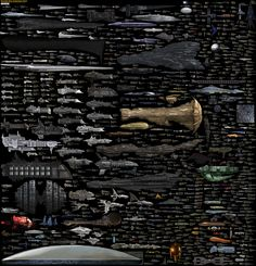BIG chart of all sci-fi space ships! Size comparison science fiction spaceships by Dirk Loechel (4268×4445px)