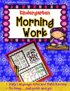 Morning Work Activities   •	Trace the letter of the alphabet  •	Great resource for introducing new letters/sounds, and alphabet review.  •	Math activities included on each page!