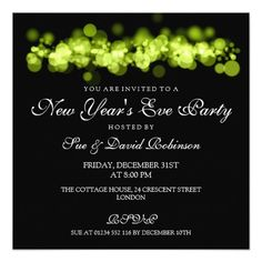 new years eve party lime bokeh lights invitation