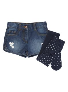 Girls Girls Denim Shorts and Tights Set (3-12 years) | Tu clothing