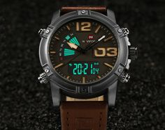Fashion Casual Leather Men's Quartz Analog Digital Wristwatch Waterproof Military Army LED Outdoor Sport Watches Male Clock - Online Shopping for Watches