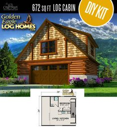 The Starter Log Cabin by Golden Eagle Log & Timber Homes - quality small log cabin kits and pre-built cabins that you can afford! - An over-garage small apartment for extra income! Small Log Cabin Kits, Small Cabin Plans, Tiny Log Cabins, Cabin House Plans, Tiny House Cabin, Cabin Homes, Small House Plans, Log Homes, Tiny Homes