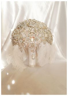 Vintage Great Gatsby Brooch Bouquet. Deposit on Feather Diamond Jeweled Crystal Brooch Bouquet.Broach Bouquet with dangling jewelry