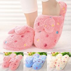 c57c688d0892 Details about Women Winter Warm Soft Bowknot Bedroom Slippers Shoes House  Slipper Indoor Home