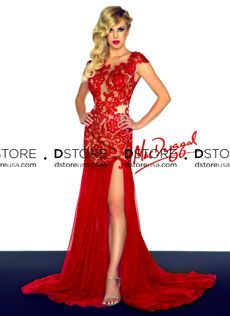 Vestido de Festa Longo em Renda sobre Tule Roslyn 61041R
