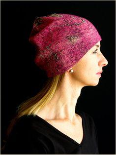 Hot Pink Beanie Hat Snakeskin silk Nuno Felt by TrishRaineFelting, $125.00