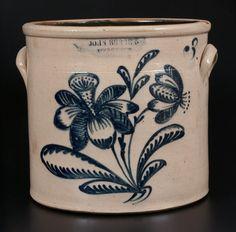 JOHN BURGER / ROCHESTER Stoneware Crock w/ Elaborate Slip-Trailed Floral Decoration -- July 19, 2014 Stoneware Auction by Crocker Farm, Inc.