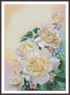 Cross Stitch Pattern #flower #roses #cross #stitch #pattern #embroidery #needlepoint #needlecraft #handcraft #floral #chart #painting #picture #design #diy #etsy #decor #gift