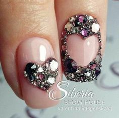Simple Nail Art Designs That You Can Do Yourself – Your Beautiful Nails Ongles Bling Bling, Rhinestone Nails, Bling Nails, My Nails, Simple Nail Art Designs, Winter Nail Designs, Nail Designs For Kids, Nail Swag, Nagel Bling