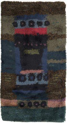 Arne Lindaas; Hand-Knotted Wool 'Forest Floor' Rya Rug for Sellgren, 1959.