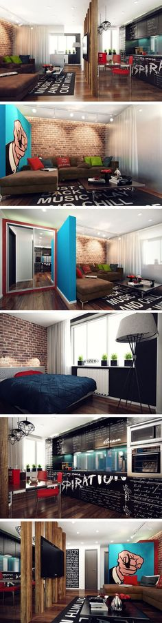 We really love exposed brick walls. This youthful inspiring home has its point of interest on the blue background hand pop-art poster and the lyrics kitchen furniture and carpet. (Cool Rooms Without Ac) Home, Small Spaces, House Styles, Interior And Exterior, House Design, Interior, Interior Architecture Design, House Interior, Home Deco