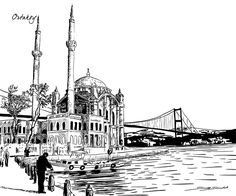 Different parts of Istanbul drawn for a construction company in Istanbul. All drawings are vector based. Oil Painting Pictures, Art Pictures, World Icon, City Drawing, Building Drawing, Islamic Architecture, Architecture Sketches, Turkish Art, Amazing Drawings