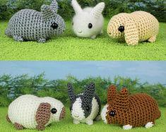 Baby Bunnies 1 & 2 - six amigurumi bunny rabbit PDF CROCHET PATTERNS