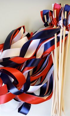 50 Wedding Wands You choose your colors fourth of july military stars stripes flag Sticks With Out Bells Streamers Bubbles Birthday Party
